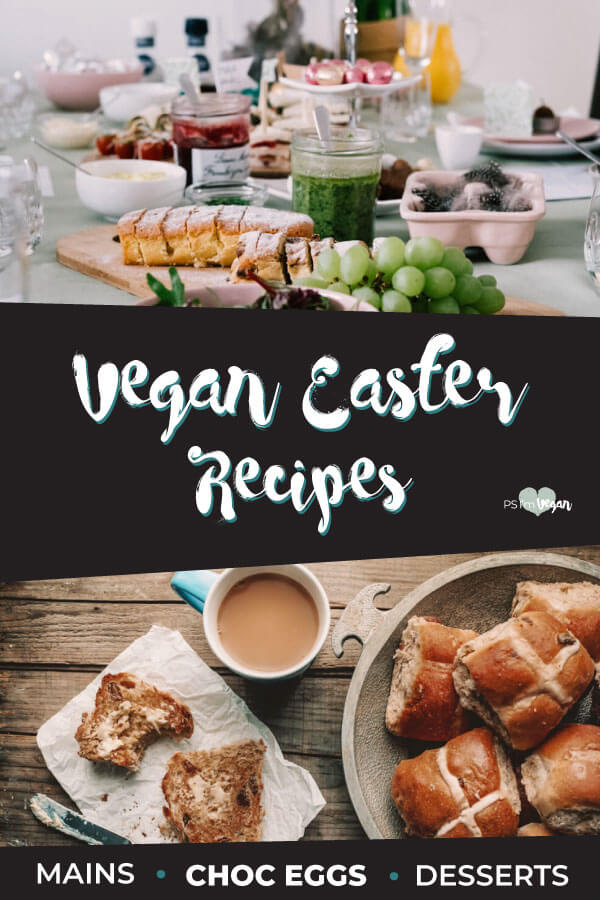 Check out our list of the Best vegan Easter Recipes for Australia. Includes vegan Easter treats like biscuits, sweets, vegan chocolate bunnies and vegan Easter eggs, candy, cake and pie. Plus vegan Easter Meals, Main Dishes, Sides and other delectable vegan food.  #vegan #Easter #PSIV #Recipes