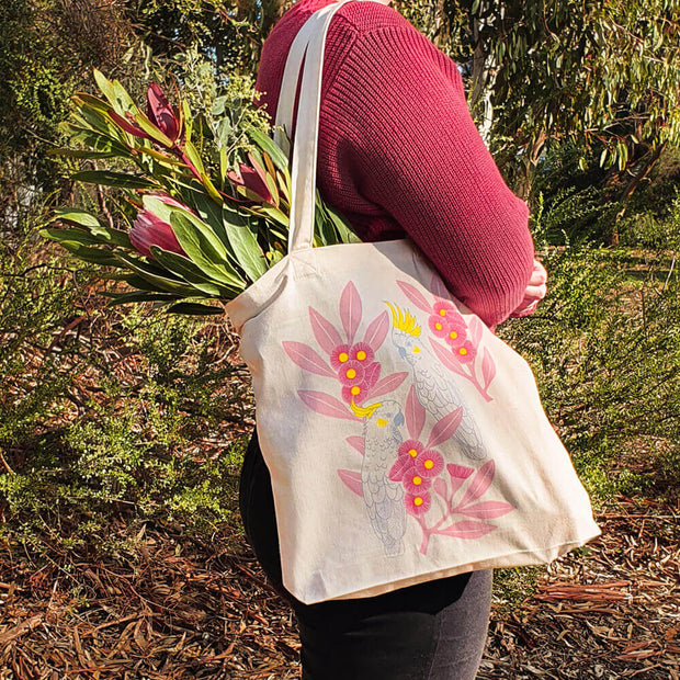 Earth Greetings Negin Maddock Silver Gum Cockatoos organic cotton tote bags vegan tote bags