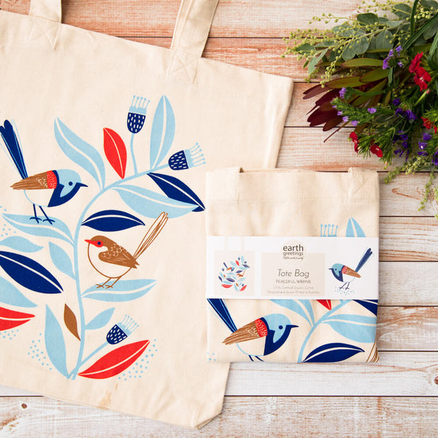 Earth Greetings Sarah Allen Peaceful Wrens organic cotton tote bags vegan tote bags