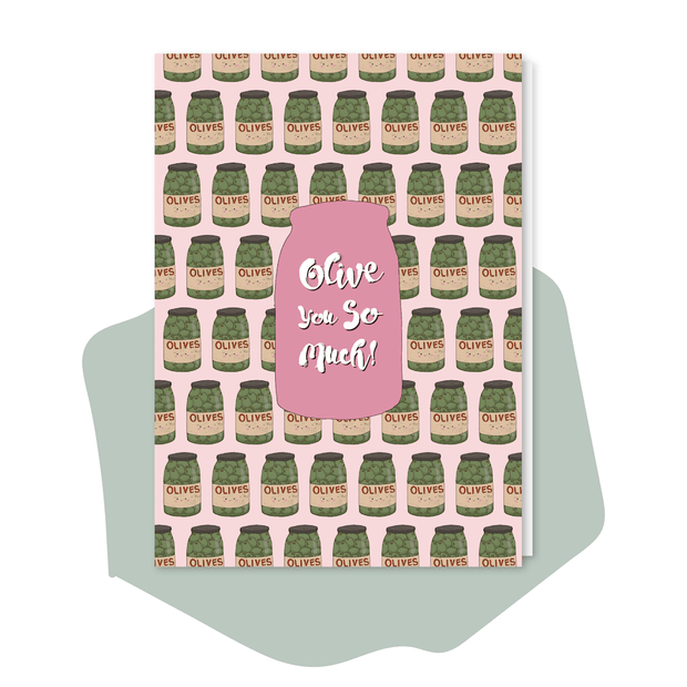 Olive card vegan greeting card Olive You So Much love pun card