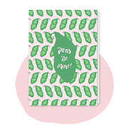 pea card vegan greeting card Peas be mine pun