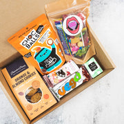Vegan Chocolate Box Vegan Hamper with vegan fruit gummies, vegan marshmallows, vegan maltesers, vegan chocolate bar, vegan cookies, hazelnut bar, vegan sweets, vegan candy, and vegan balls