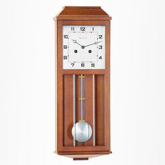 Art-deco Francis regulator clock with square dial and arabic numerals in walnut finish
