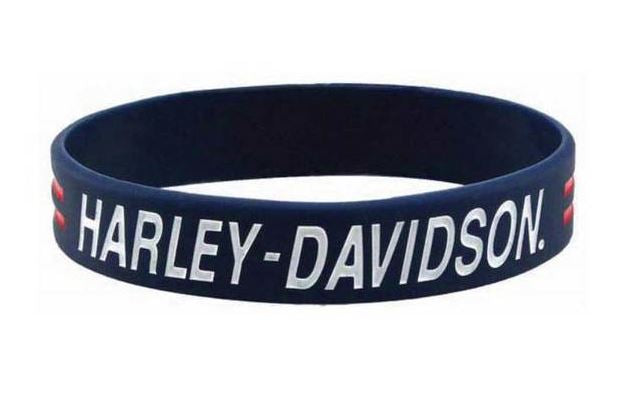 Harley-Davidson® Debossed H-D Script Silicone Wristband, Blue w/ Ink Fill