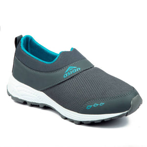 Grey Green Solid Mesh Running Shoes