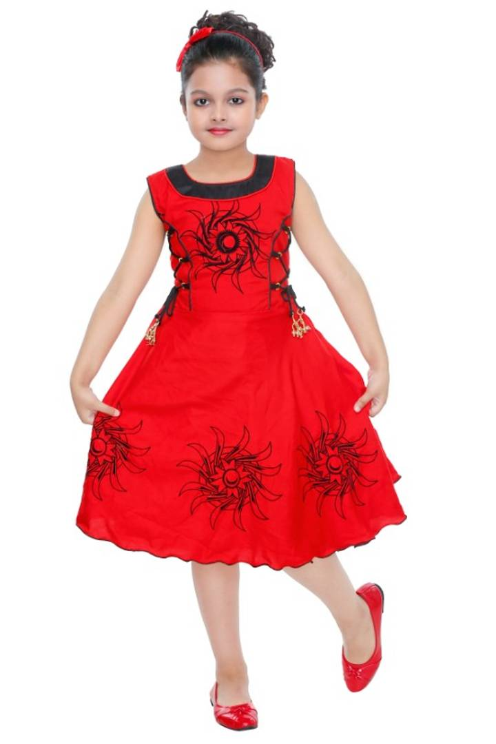 FANCY RED COTTON GIRLS FROCK