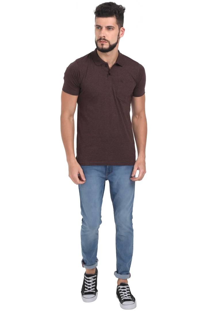 Men Brown Solid Cotton Polo T-shirt