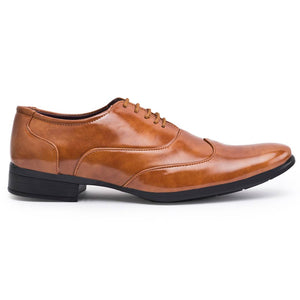 Tan Synthetic Solid Formal Shoes