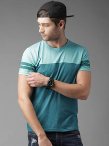 Multicoloured Cotton Blend Round Neck Tees For Mens