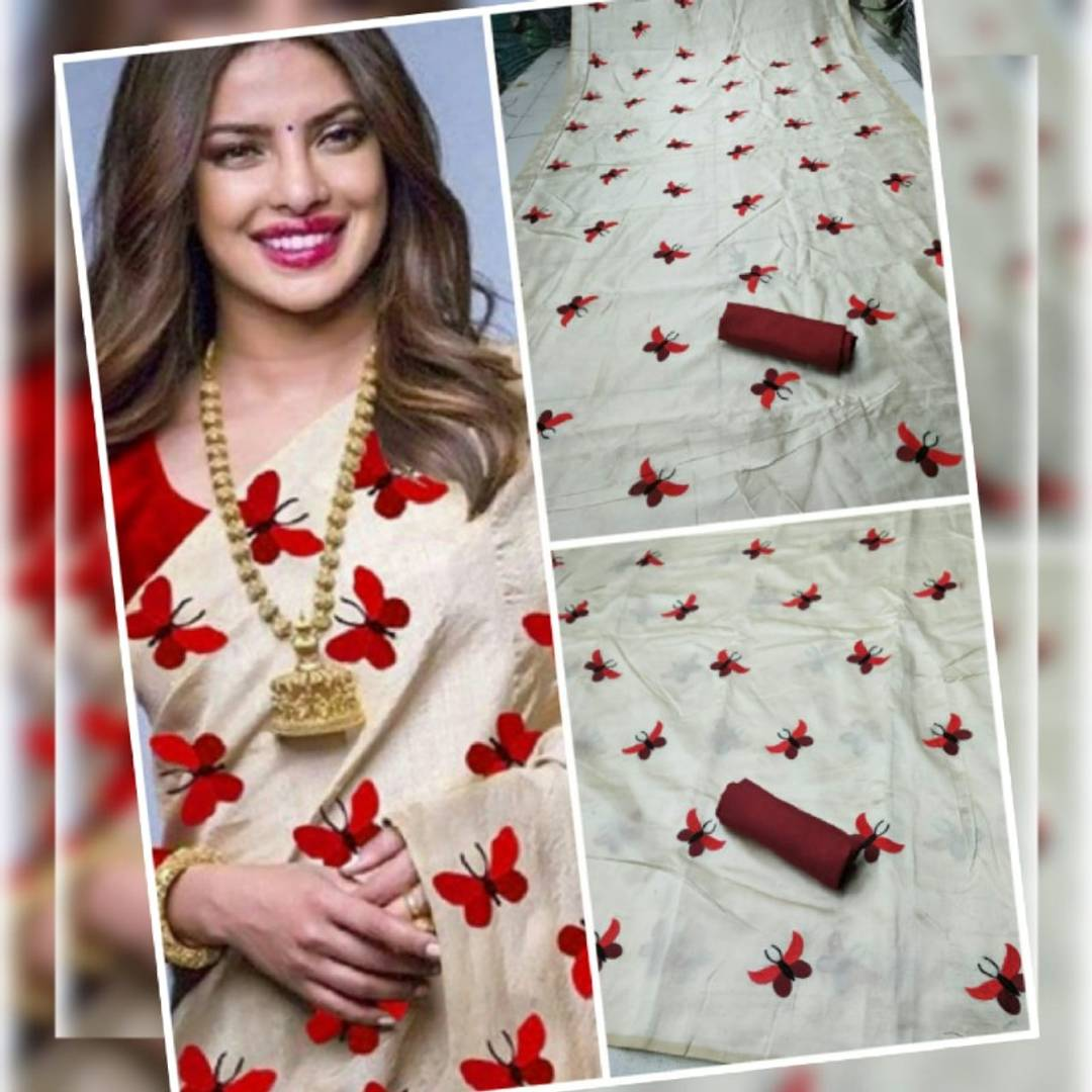 Butterfly Embroidered Zarna Silk Sarees
