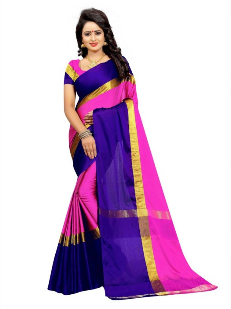 Multicoloured Cotton silk Saree with Blouse piece