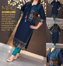 Load image into Gallery viewer, Rayon Gold Printed Jacket Kurti