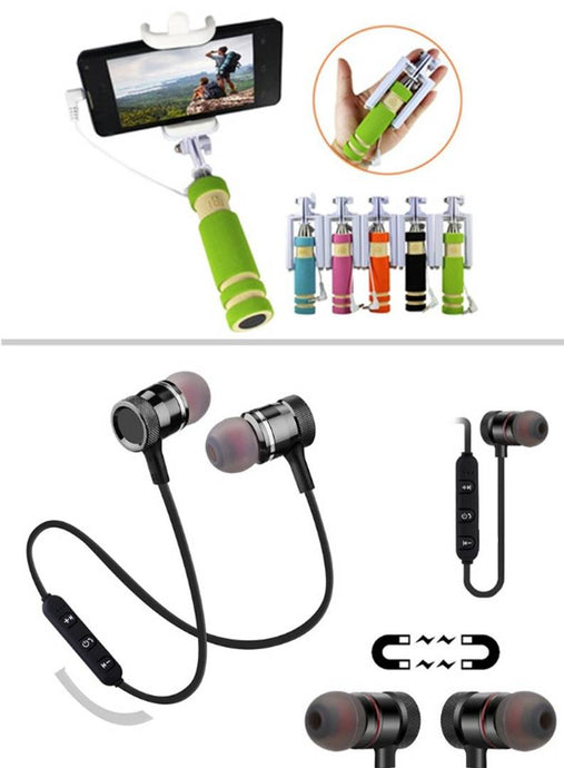Combo Of Magnetic In-Ear Bluetooth Headset & Selfie Stick