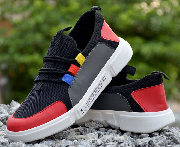 Comfy Multicoloured Self Design Mesh Sports Shoes