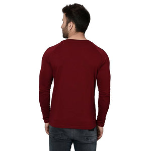 Men's Maroon Cotton Blend Self Pattern Round Neck Tees