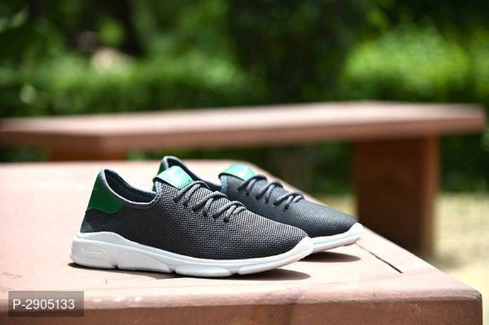 Elegant Grey Solid Canvas Sports Shoes