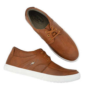 Tan Lace-Up Casual Shoes For Men's