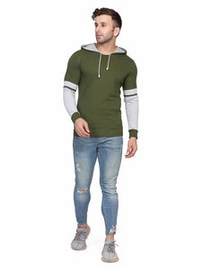 Green Self Pattern Cotton Blend Hooded Tees