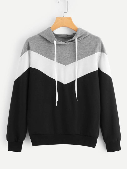 Black And White With Grey ZigZag Strip Sweat Shirt