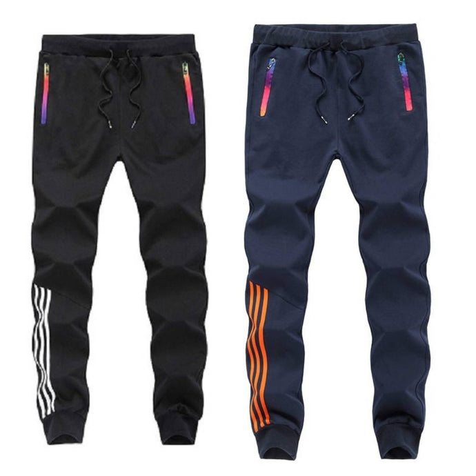 Buy One Get One Free Men's Multicoloured Polyester Blend Self Pattern Slim Fit Joggers