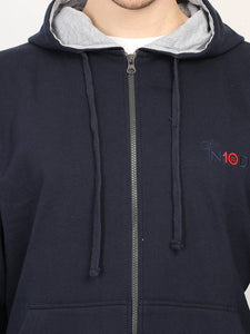 Men's Navy Blue Fleece Solid Long Sleeves Regular Hoodies