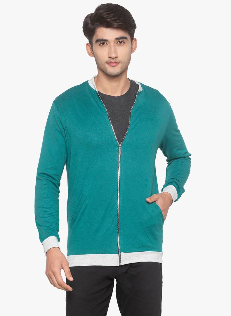 Men's Solid Green Cotton Open Front Jacket