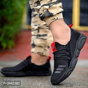Men Black Solid Mesh Outdoor & Hiking Sneaker Shoes