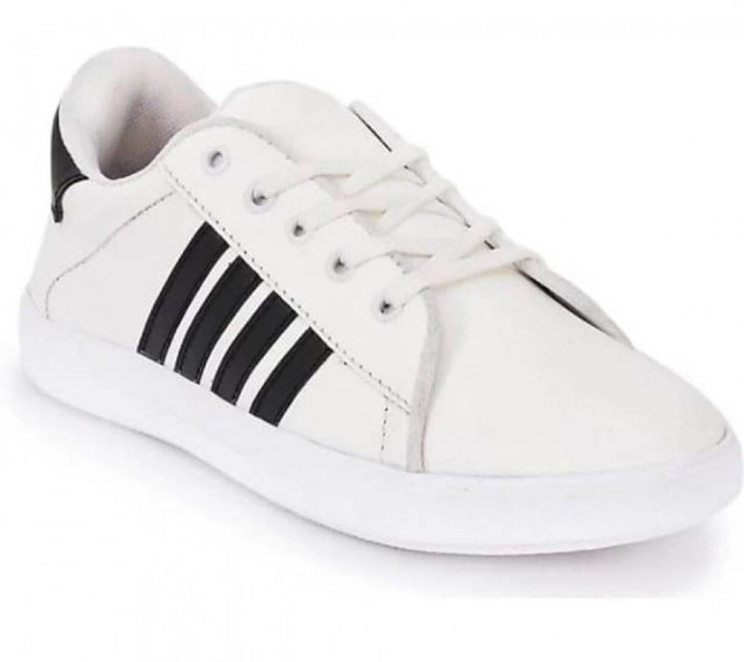 Men's White Light-Weighted Synthetic Leather Casual Shoes