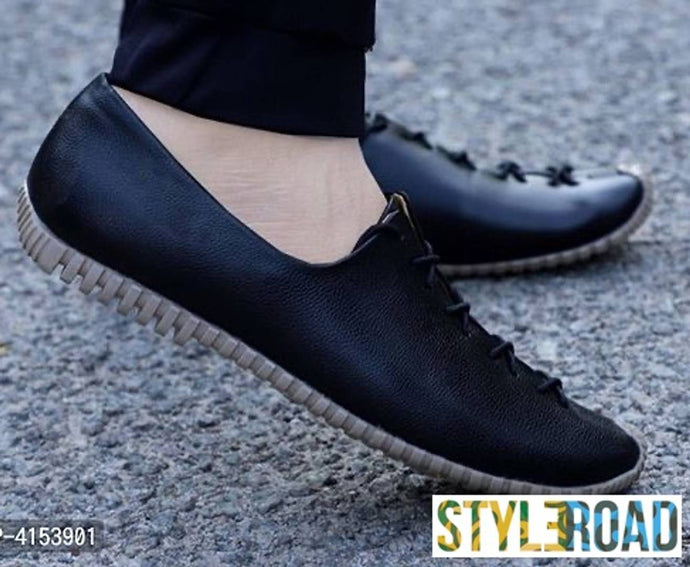 Men's Black Synthetic Leather Solid Casual Shoes
