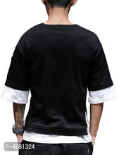 Load image into Gallery viewer, Men's Black Cotton Colourblocked Round Neck Tees