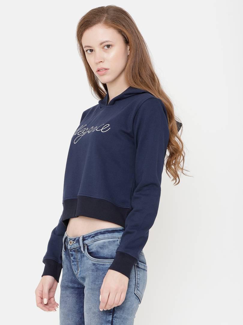 Elegance Women's Navy Embroidered Hoodi Sweatshirt