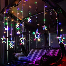 Load image into Gallery viewer, Multi-Color LED Curtain String Lights;Star Curtain Fairy String Lights;138 pcs Led;8 Modes Lights for Diwali;Christmas;Wedding;Party;Home Decorations