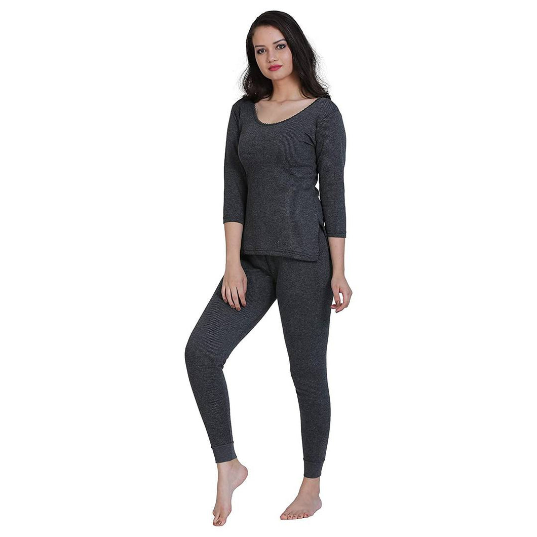 Women's Thermal Top and Lower Set Cotton Grey