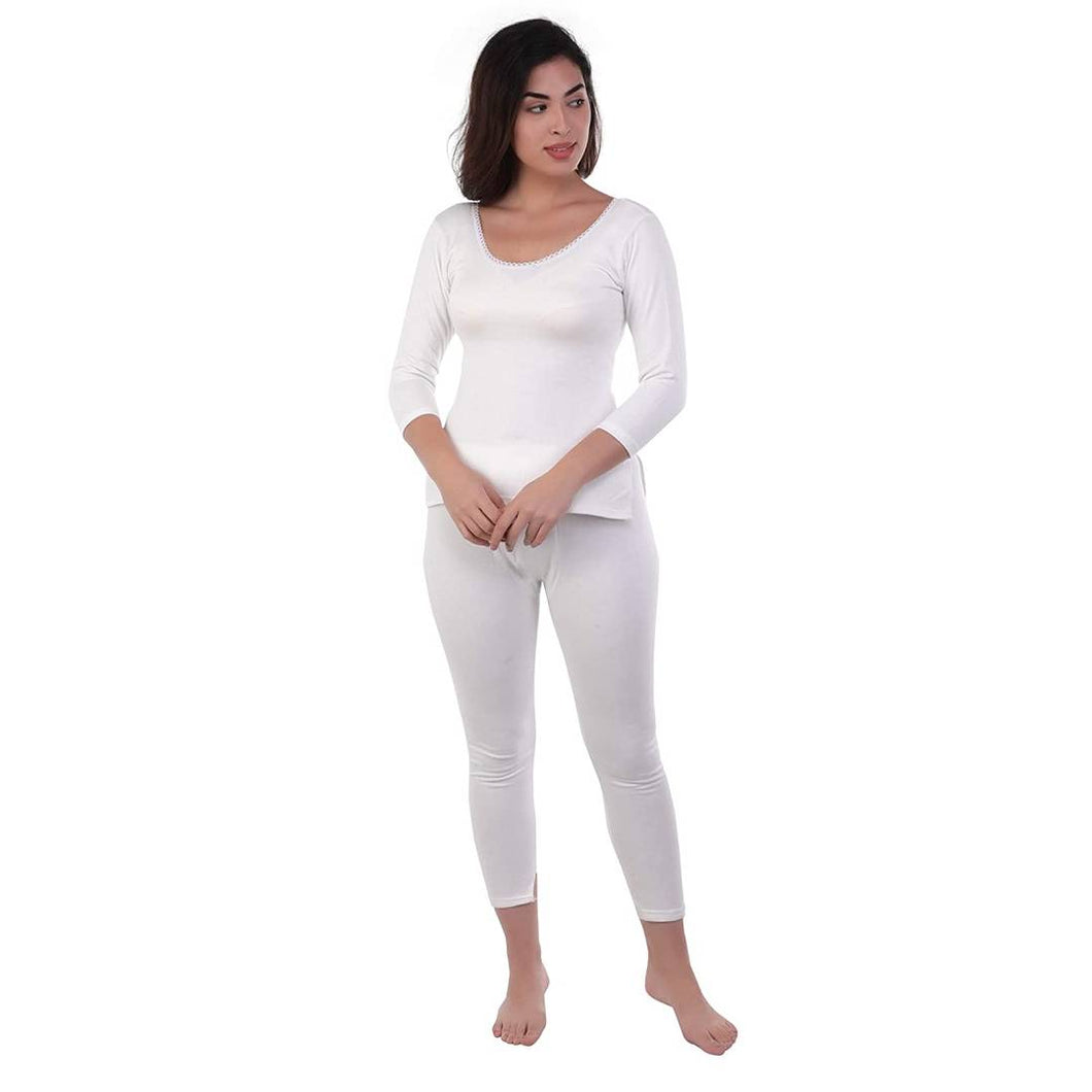 Women's Cotton White Thermal Top and Lower Set