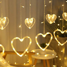Load image into Gallery viewer, Heart Curtain Fairy String Lights Warm White,10pcs Led, 8 Modes Lights for Diwali, Christmas, Wedding, Party, Home Decorations(5 Small Heart and 5 Big Heart)