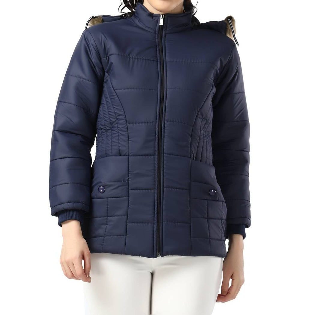 Navy Blue Full Sleeve Nylon Fur Hoodie Women Winter Jacket