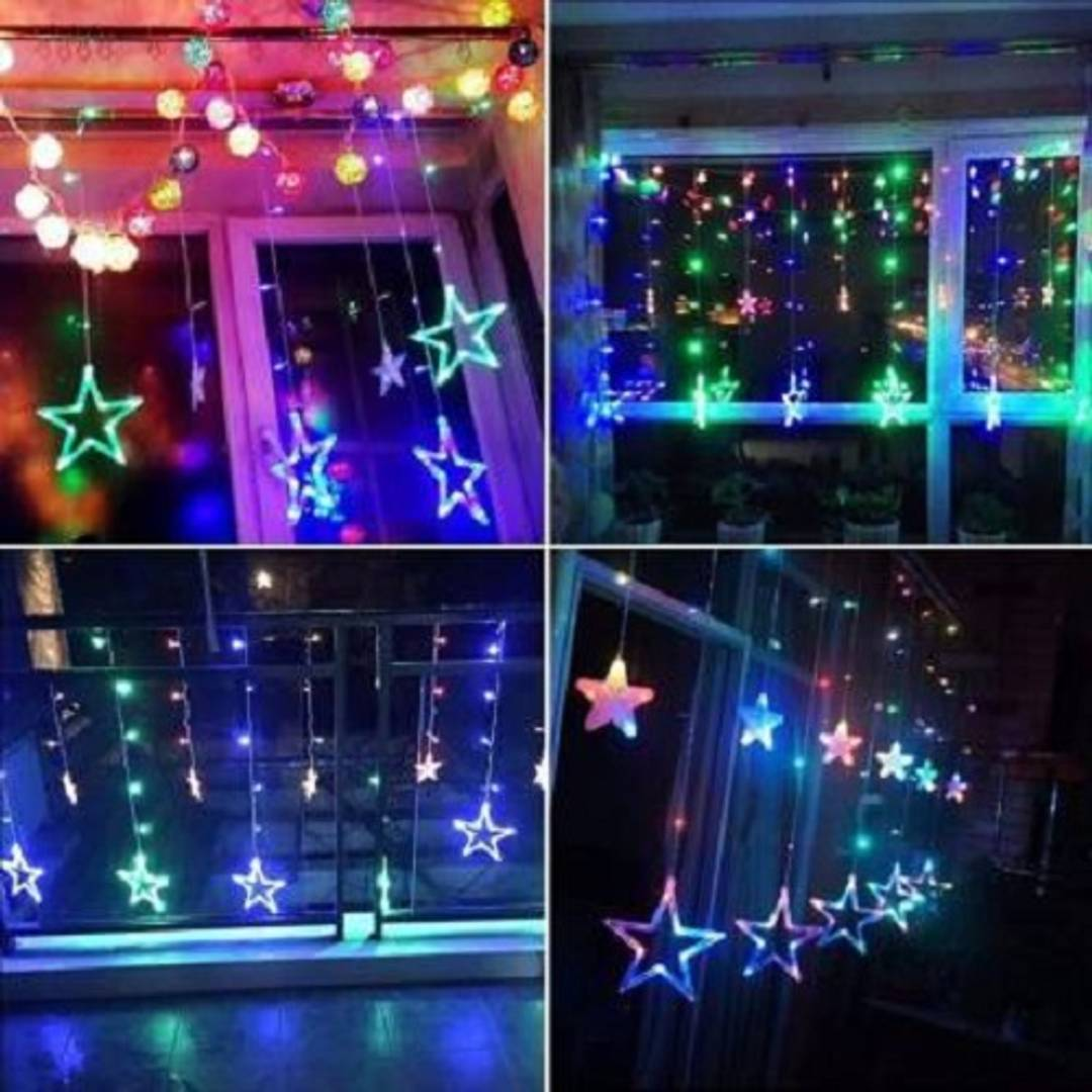 12 Multicolor Stars (6 Big Stars & 6 Small Stars) 138 LEDs curtain string lights for Bedroom, Wedding, Party, Diwali & Christmas Decorations Lights
