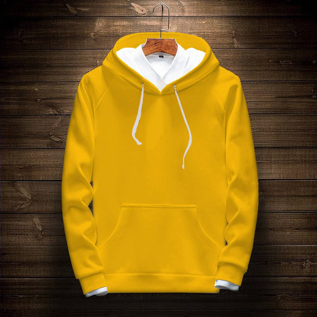 Elite Yellow Cotton Solid Pullover Hoodies For Men