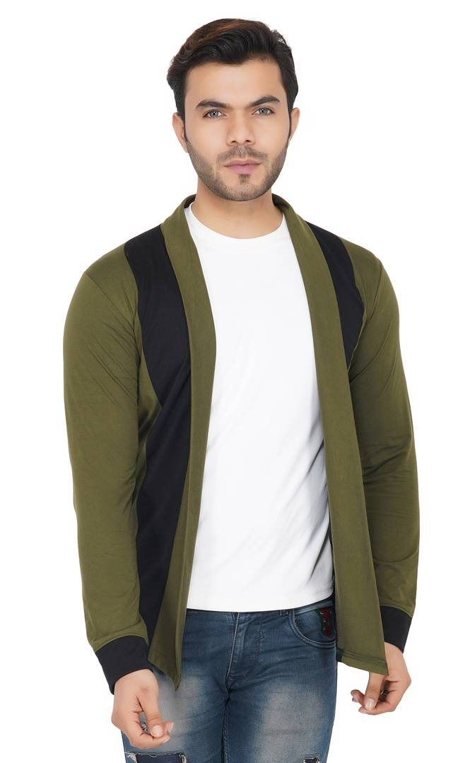 Green Cut & Sew Sleeve Detail Open Cardigan For Men
