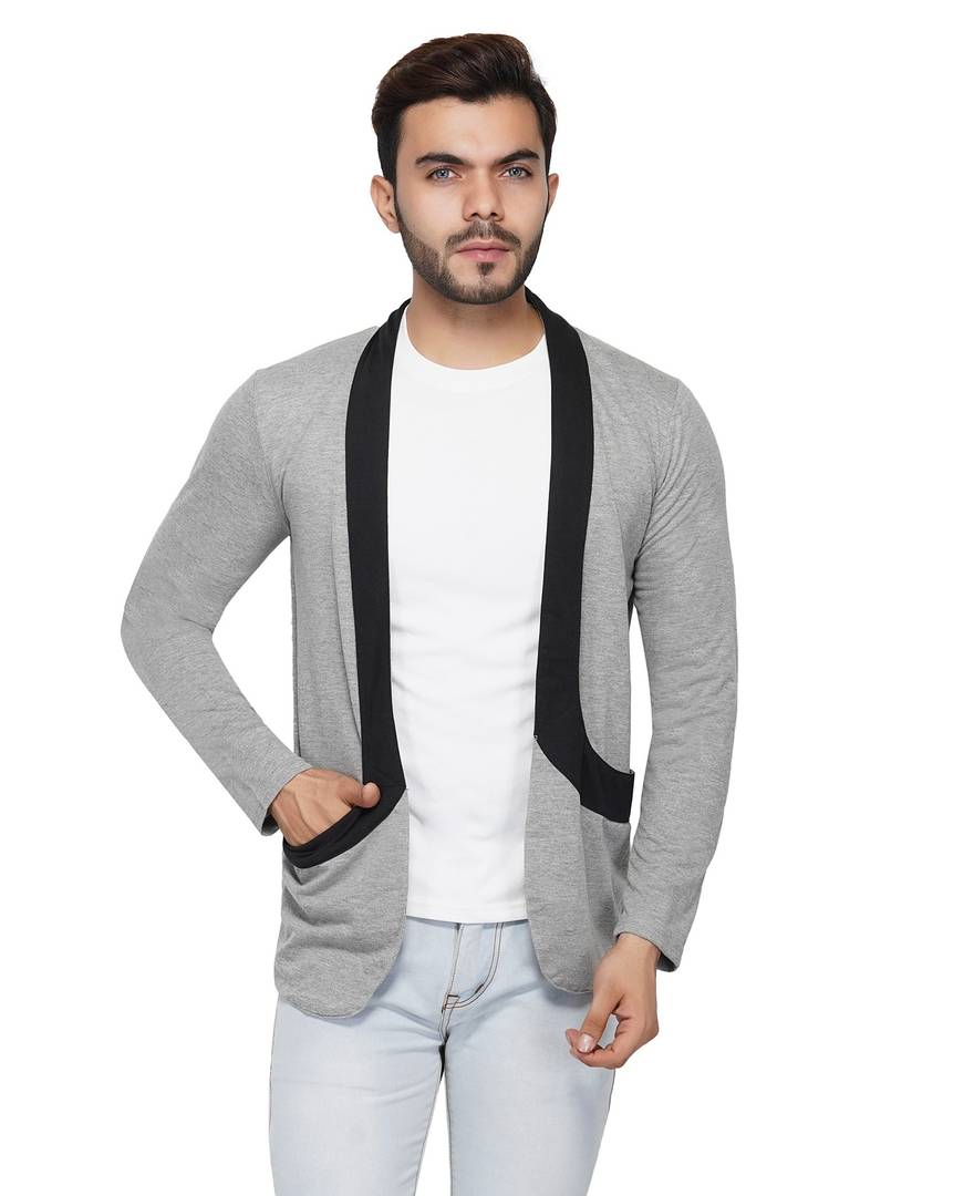 Men Full Sleeve Grey Shrug