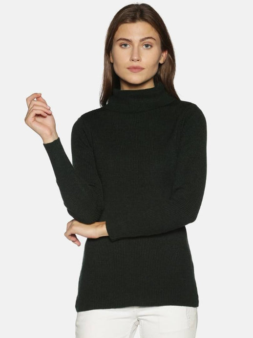 Woolen Solid High Neck Sweater Top