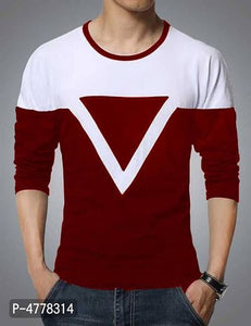 Stylish Maroon Colorblocked Cotton Blend Round Neck T-shirt For Men