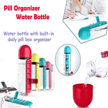 Load image into Gallery viewer, 7 DAYS PILL TABLET MEDICINE ORGANIZER WITH WATER BOTTLE 600ML - Maple Things