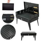 Load image into Gallery viewer, STAINLESS STEEL BRIEFCASE STYLE BARBECUE GRILL TOASTER (MEDIUM, BLACK) - Maple Things