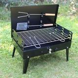 STAINLESS STEEL BRIEFCASE STYLE BARBECUE GRILL TOASTER (MEDIUM, BLACK) - Maple Things