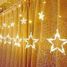 Load image into Gallery viewer, 12 STAR Curtain Designer Diwali, Christmas, New Year, Home Decore Warm Golden LED Light