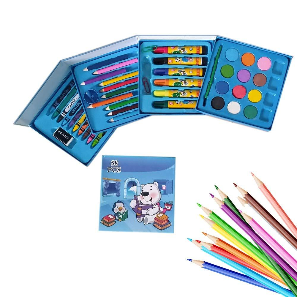 858 Plastic Art Colour Set 58 pcs with Color Pencil, Crayons, Oil Pastel and Sketch Pens