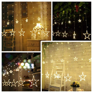 12 STAR Curtain Designer Diwali, Christmas, New Year, Home Decore Warm Golden LED Light