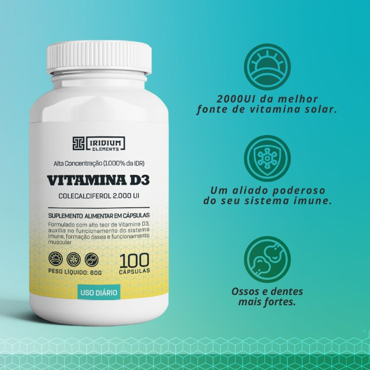 Kit Vitamina D Iridium Elements - 3 caixas c/ 100 caps cada