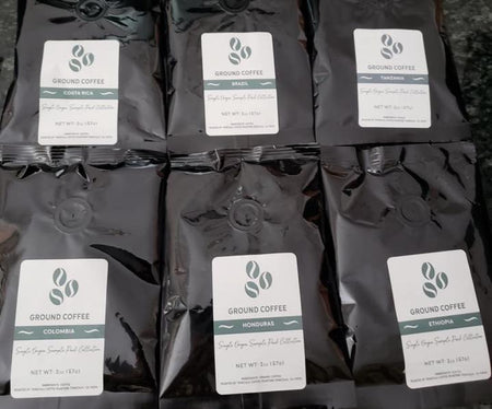Country Coffee Samples: Brazil, Colombia, Costa Rica, Ethiopia, Honduras, Tanzania - Grinding Coffee Co.